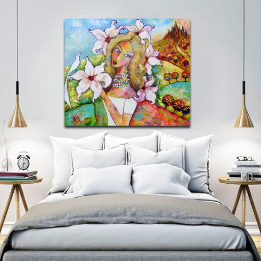 obraz kobieta z magnoliami