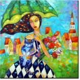 obraz kobieta z zieloną parasolką