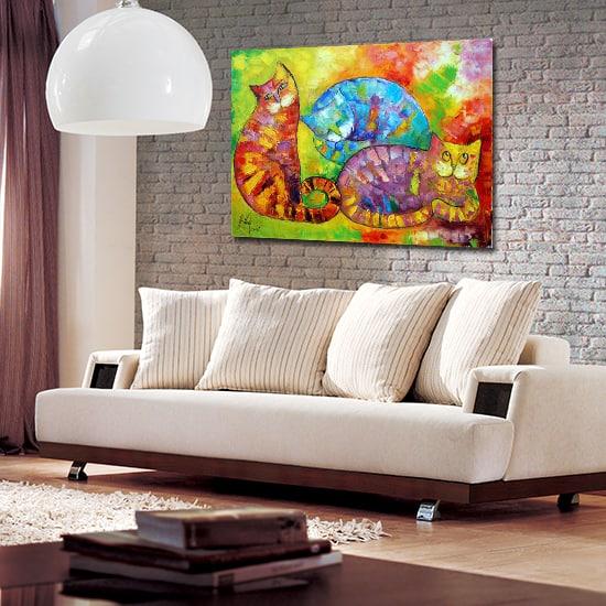 Obrazy ręcznie malowane z kotami to najszlachetniejsza forma obrazów, jakimi można udekorować ściany