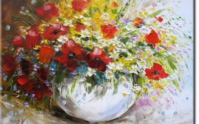 Obrazy olejne kwiaty w wazonie