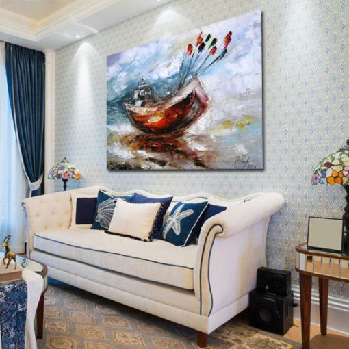 obraz malowany kuter na morzu