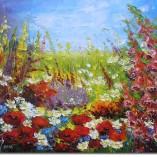obraz ręcznie malowany kwiaty polne