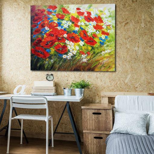 obraz ręcznie malowany kolorowa łąka