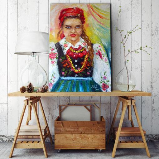 obraz szpachlowy kobieta z łowicza