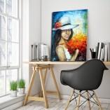 obraz malowany dziewczyna i maki