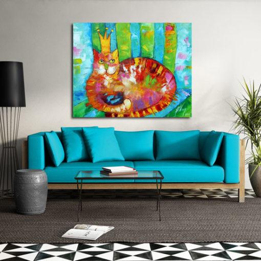 obraz ręcznie malowany z kolorowym kotkiem