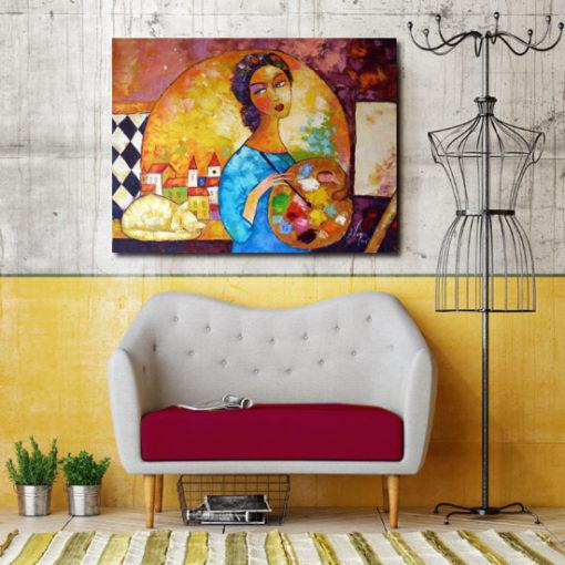 obraz ręcznie malowany kobieta i kot