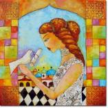 obraz olejny kobieta z gołębiem