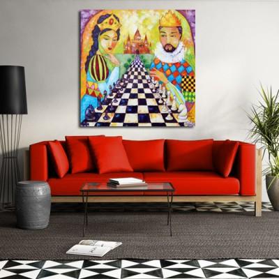 obraz olejny gra w szachy