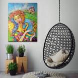 obraz olejny kobieta z lirą