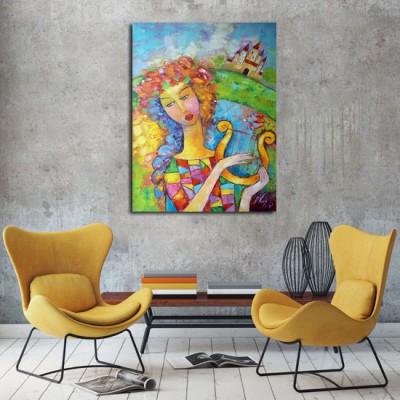 malarstwo olejne dziewczyna z instrumentem