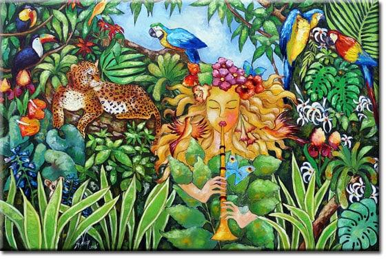 obraz olejny kobieta i zwierzęta