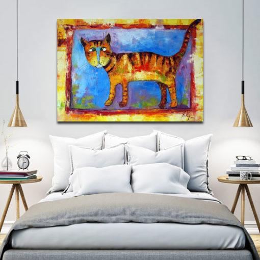 obraz malowany rudy kocur