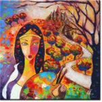 obraz olejny dziewczyna i drzewo