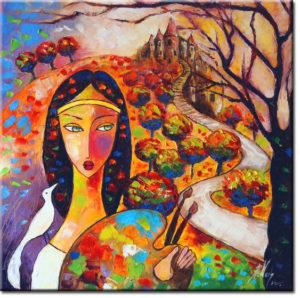 malarstwo sztalugowe kobieta i biały ptak