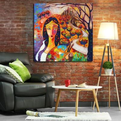 obraz ręcznie malowany z kobietą i zamkiem
