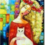 obraz kobieta i biały kot