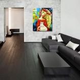 obraz ręcznie malowany dziewczyna i kotek
