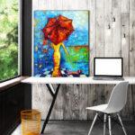 obraz z pieskiem i parasolem