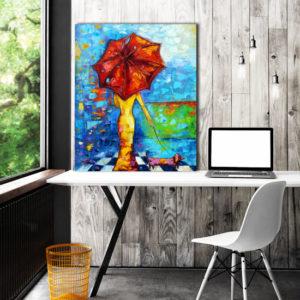 obraz szpachlowy czerwona parsolka