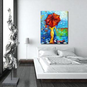 obraz na płótnie czerwony parasol i pies