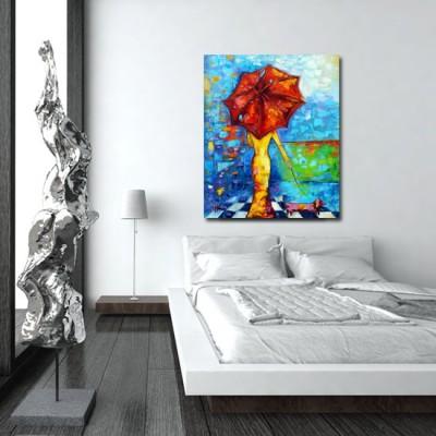 malarstwo olejne kobieta z parasolem