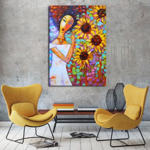 obraz olejny kobieta i słoneczniki