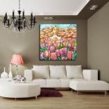 obraz ręcznie malowany pole tulipanów