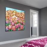 obraz jasnowłosa kobieta i tulipany