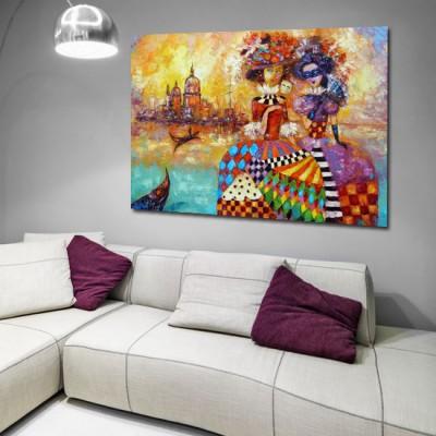 obraz ręcznie malowany gondole