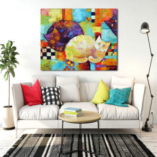 kolorowy obraz z bajkowymi kocurami