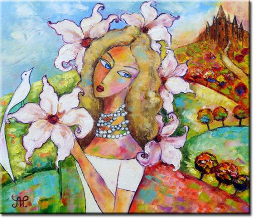 obraz dziewczyna z ptakiem