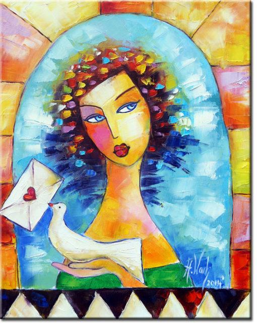 obraz dziewczyna z gołębiem