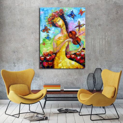 obraz malowany dziewczyna ze skrzypcami