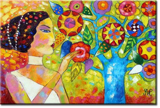 obraz piękna kobieta i drzewo