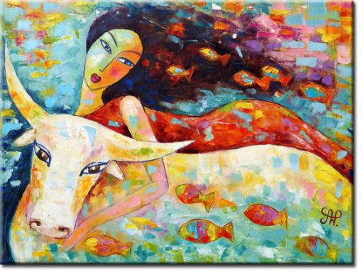 obraz malowany kobieta i byk