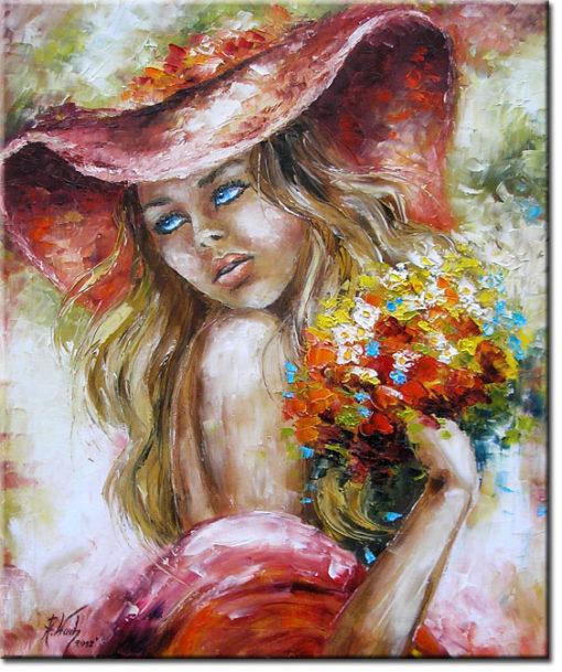 obraz piekna kobieta z bukietem
