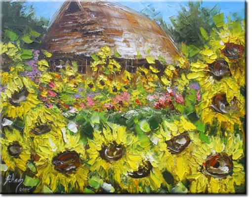 obraz do sypialnio chata i pole słoneczników