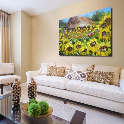 obraz malowany ręcznie słoneczniki