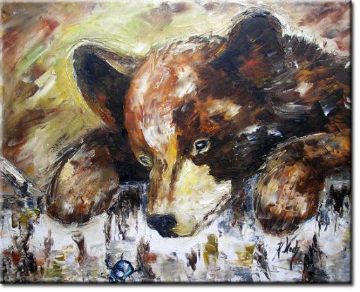 obraz szpachlowy brązowy niedźwiadek