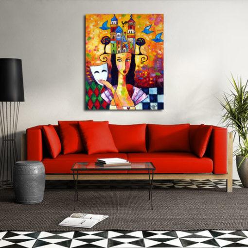 obraz kolorowe miasto i kobieta