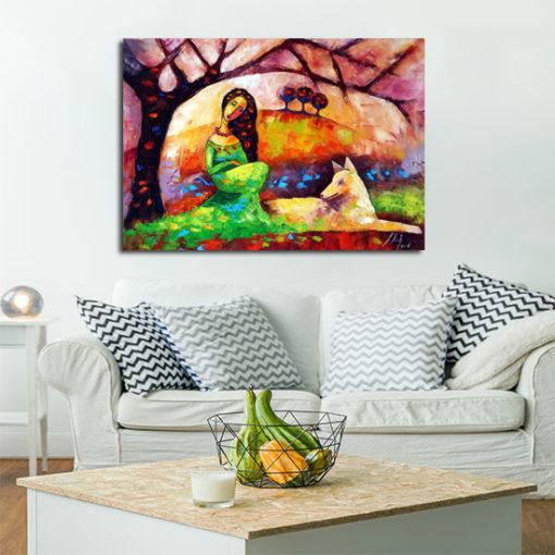 obraz malowany biały pies i dziewczyna