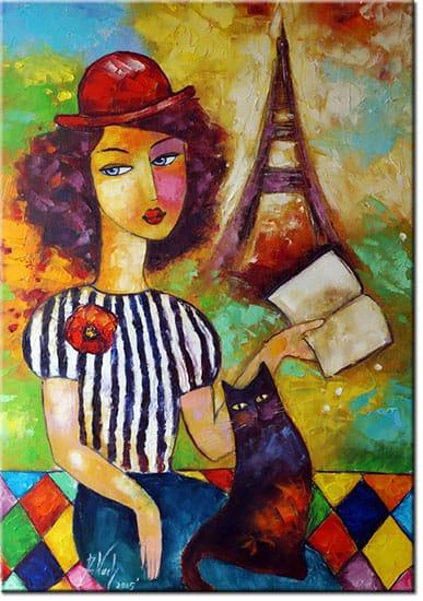 obraz ręcznie malowane kot