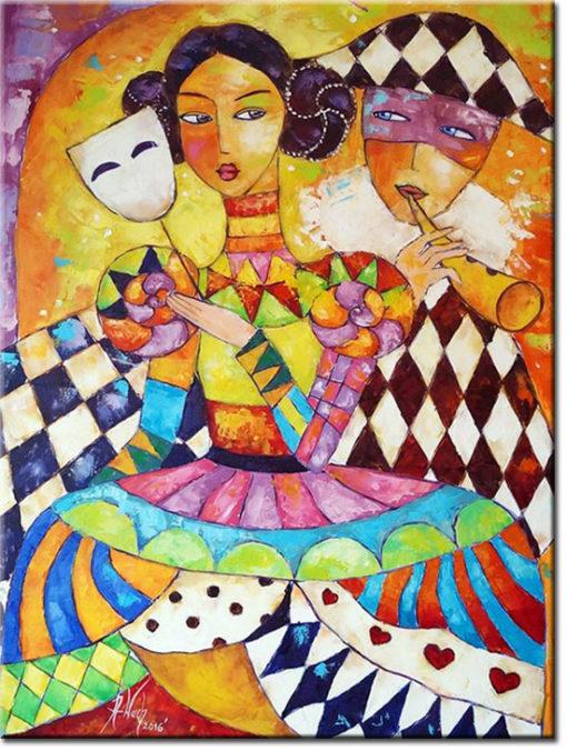 malarstwo olejne para zakochanych