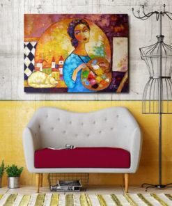 obraz szpachlowy z malarką
