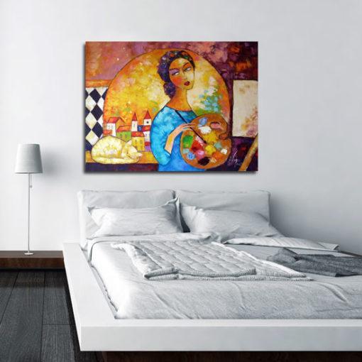 obraz olejny malująca kobieta