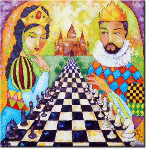 obraz olejny królewska para