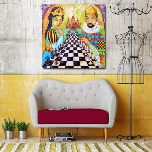 obraz malowany gra w szachy