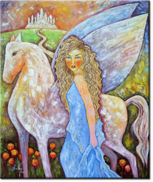 obraz olejny kobieta i pegaz