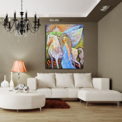 obraz malowany skrzydlaty pegaz